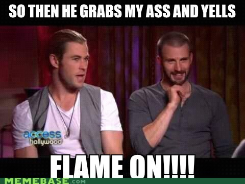 captain america flame on superheroes Super-Lols Thor weird - 6296065792