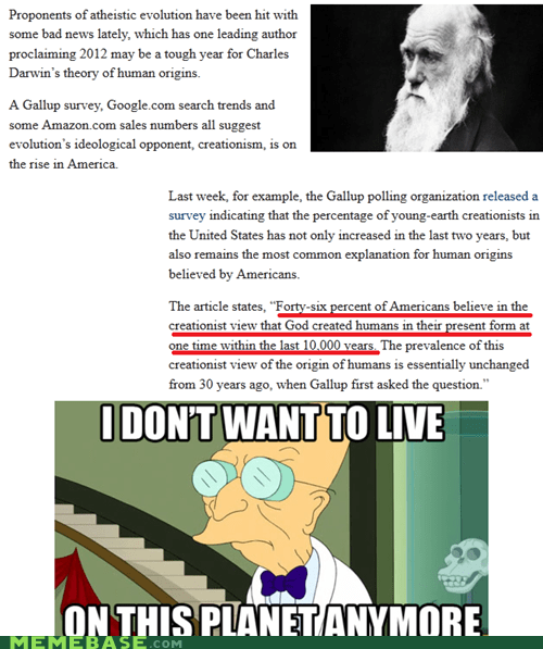 americans charles darwin ignorance Life Sciences Memes not religion vs science - 6296158464