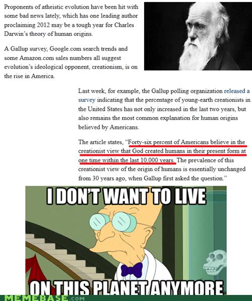 americans charles darwin ignorance Life Sciences Memes not religion vs science - 6296158464