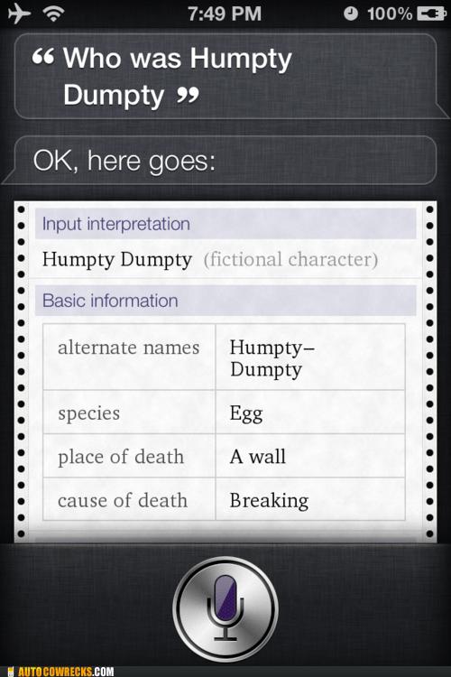 egg fictional characters humpty dumpty siri