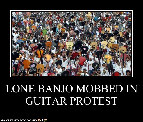 banjos,guitars,political pictures