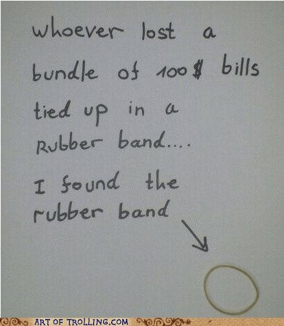 IRL lost and found money rubber band sign - 6297013760