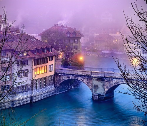 bridge snow Switzerland winter