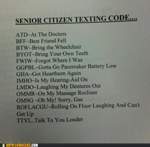 old people,senior citizens,shortening,texting code