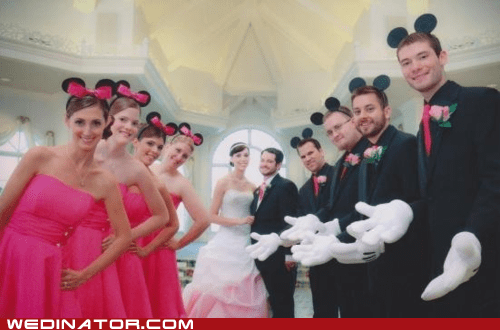 bride,bridesmaids,disney,funny wedding photos,groom,Groomsmen,mickey mouse