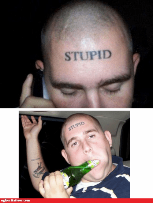 beer,forehead tattoo,stupid