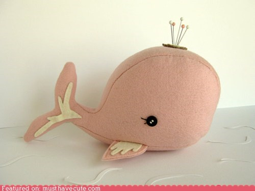 pincushion pink Plush whale - 6297329152