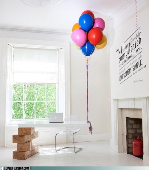 Balloons,desk,hang,helium,jenga