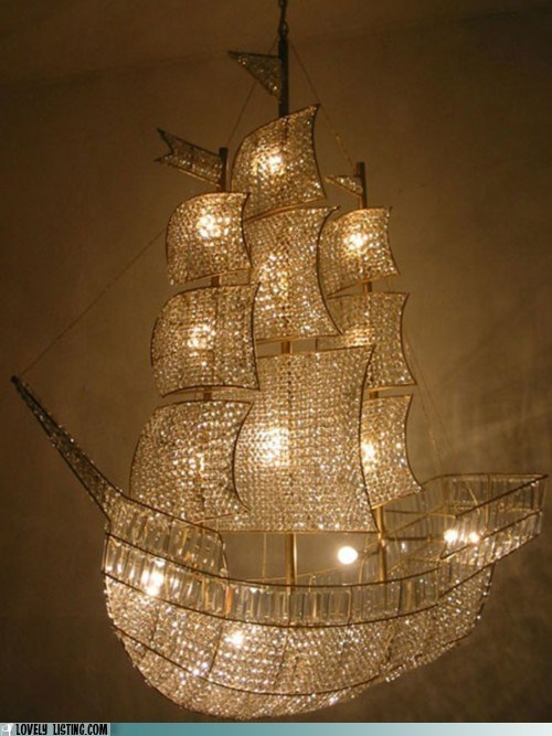 chandelier crystals gold sailboat shiny ship - 6297366784