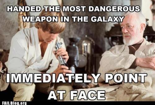 lightsaber luke skywalker point at face - 6297420288
