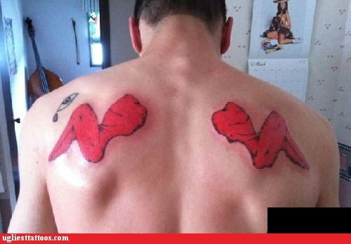 back tattoos,chicken wings,hot wings