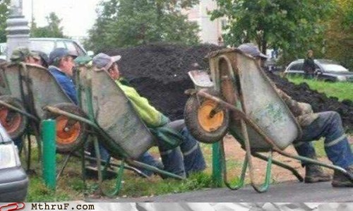 construction construction work construction workers relaxing wheelbarrow - 6297509632