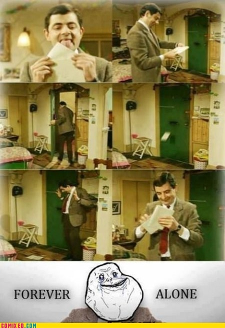 forever alone,mail,mr-bean,TV