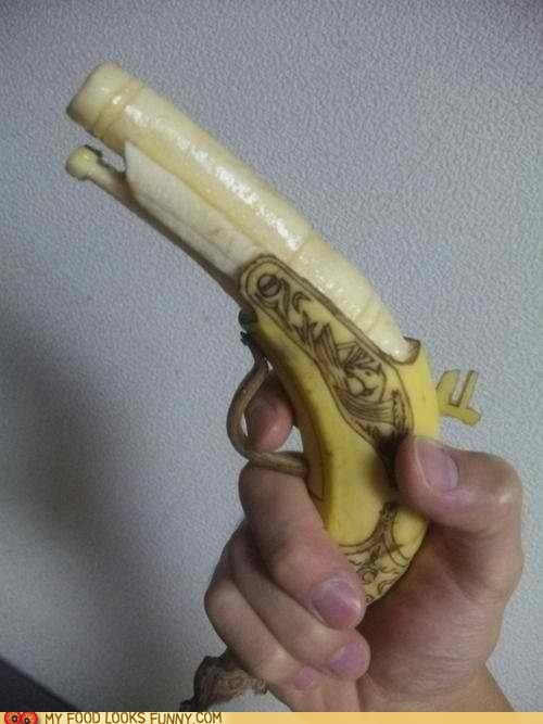 art,banana,carved,flintlock,gun
