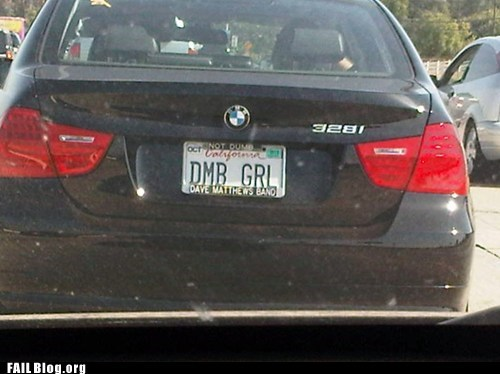 bmw dave matthews dumb license plate - 6297648128
