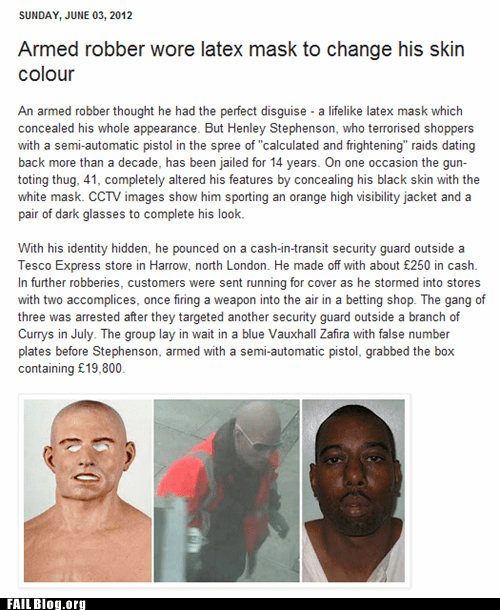 latex mask,Probably bad News,skin color
