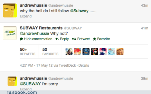 Subway tweet twitter - 6297871872