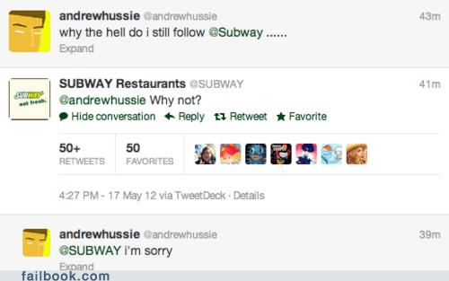 Subway tweet twitter - 6297871872