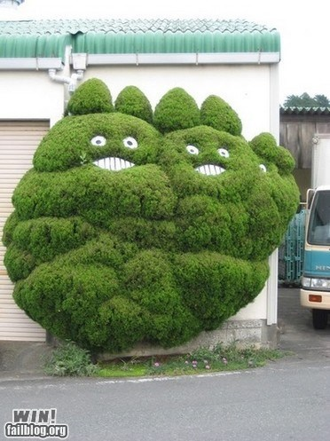 bushes,g rated,hedges,totoro,tree,trimming,win