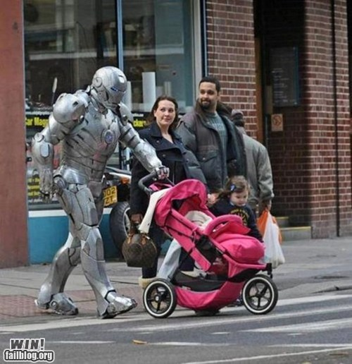 baby,iron man,nerdgasm,parenting,stroller,super heroes,war machine