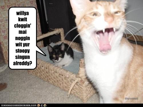 willya kwit cloggin' mai noggin wit yur stoopy singun alreddy? OHgrammyIO