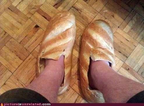 bread,Playing With Your Food,slippers,wtf