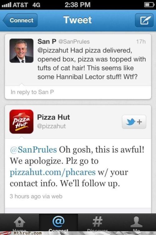 cat hair gross hairy pizza pizza pizza hut tweet twitter - 6300130304