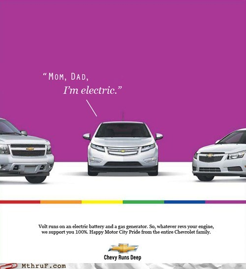 chevrolet Chevy chevy gay pride ad chevy runs deep chevy volt electric electric car g rated gay pride gay pride ad monday thru friday motor city pride parenting pride volt