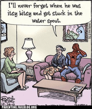 comic mom Spider-Man therapy water spout