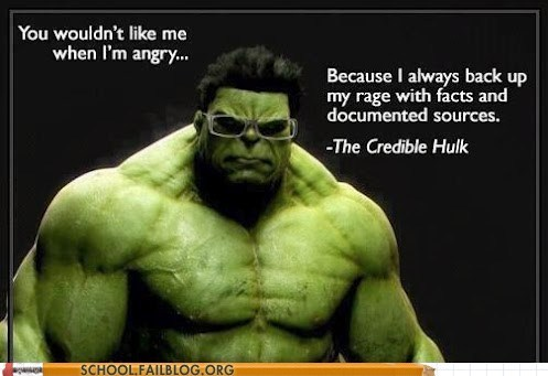 Credible Hulk Doesn't Like Wikipedia