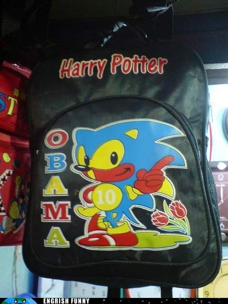 backpack,barack obama,Harry Potter,obama,sonic,sonic the hedgehog