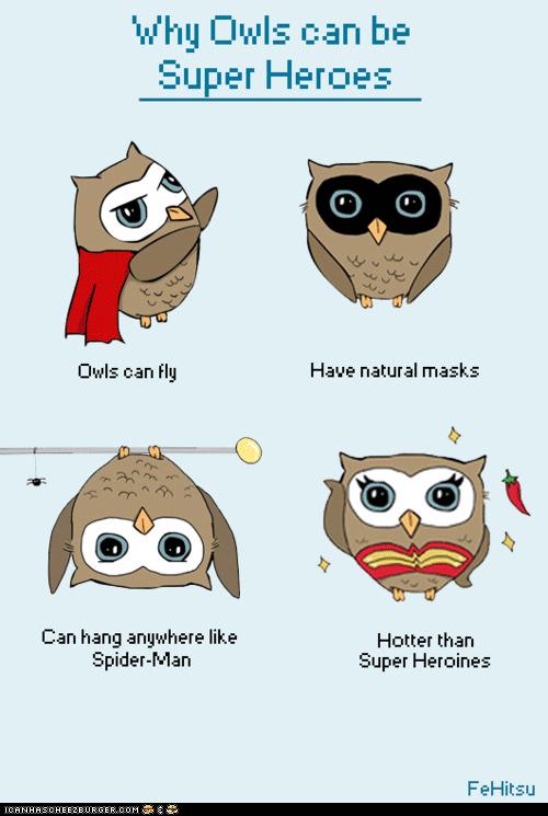 art birds cool illustrations owls superheroes - 6300359936