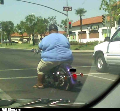 fat guy,motorcycle,street