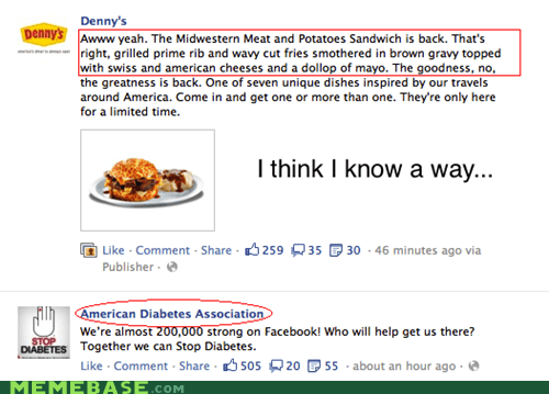america f yeah,dennys,diabetes,facebook