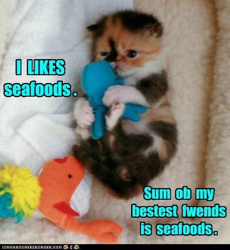 baby fish kitten seafood stuffed toy - 6300647424