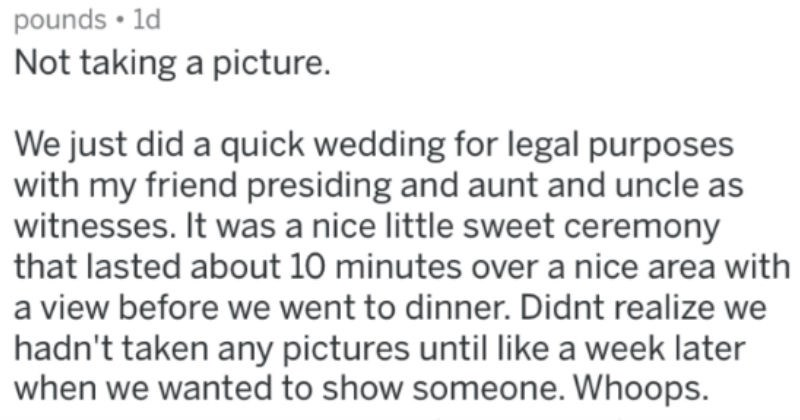 things people regretted doing on their wedding day