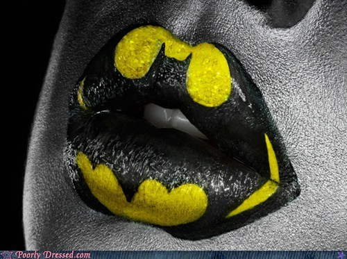 batman,comic book,Hall of Fame,lip art,lipstick,super heroes
