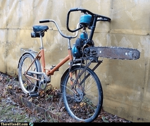 bath salts,bicycle,bike,chainsaw,saw,zombie apocalypse