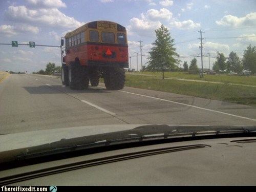 g rated,giant tire,giant wheel,Hall of Fame,monster truck,school bus,short bus,there I fixed it,tires,wheels