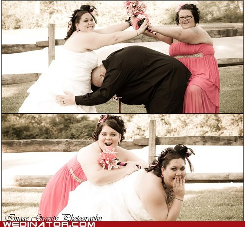 bride,funny wedding photos,groom,Maid Of Honor
