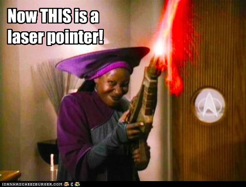 Guinan,gun,laser pointer,phaser,Star Trek,TNG,whoopi goldberg