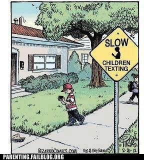 children texting,comic,slow,street sign
