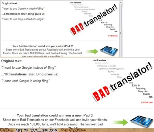 Bad Translator,bing,google,search engines