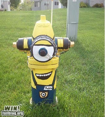 cartoons,clever,despicable me,fire hydrant,graffiti,hacked irl