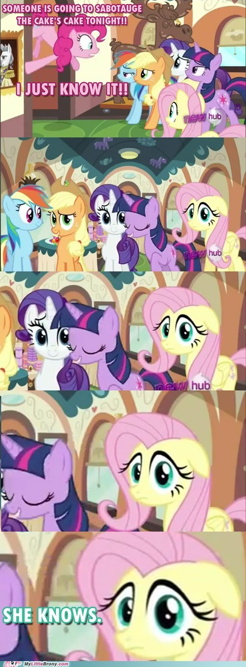 cake,comics,fluttershy,mmmystery,sabotage,she knows