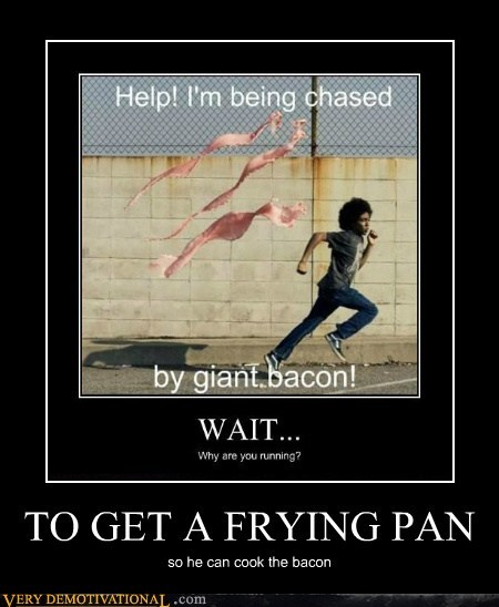 bacon,frying pan,hilarious,running