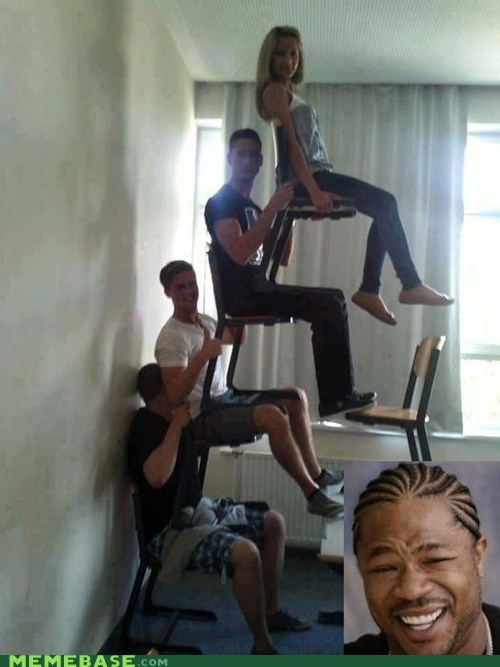 chair,humans,stack,yo dawg