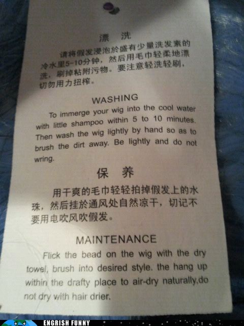 clothes,engrish funny,flick the bead,g rated,laundry,shirt,tag,washing,wig