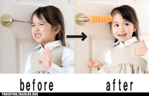 Before And After door knob g rated padding Parenting FAILS safety