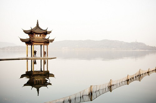 asia,China,gazebo,lake,pagoda